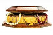 image of casket  - Casket with Beaded closed isolated on white background - JPG