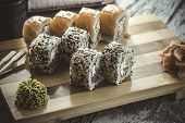 Maki Sushi Set On Wooden Background