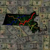 Massachusetts map with hex code and graphs on dollars illustration