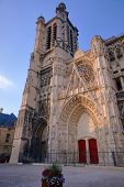 Gothic facade of the Cathedral in Troyes
