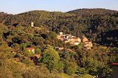 Medieval Village With Forest Hills Landscape, Provence, France.