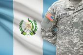 American Soldier With Flag On Background - Guatemala
