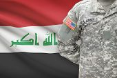 picture of iraq  - American soldier with flag on background  - JPG