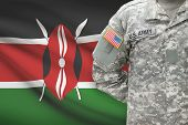 American Soldier With Flag On Background - Kenya