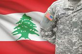 American Soldier With Flag On Background - Lebanon