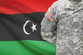 American Soldier With Flag On Background - Libya