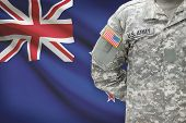 American Soldier With Flag On Background - New Zealand