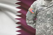 American Soldier With Flag On Background - Qatar