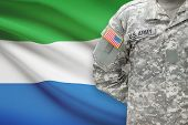 American Soldier With Flag On Background - Sierra Leone
