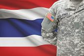 American Soldier With Flag On Background - Thailand