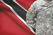 American Soldier With Flag On Background - Trinidad And Tobago
