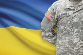 American Soldier With Flag On Background - Ukraine