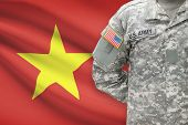 American Soldier With Flag On Background - Vietnam
