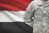 American Soldier With Flag On Background - Yemen