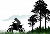 illustration with silhouettes of man on motorcycles