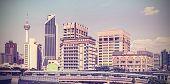 stock photo of kuala lumpur skyline  - Vintage retro filtered picture of Kuala Lumpur skyline - JPG