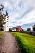 A church in the town of Holar, Iceland