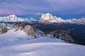 Dolomites In Winter During The Sunrise