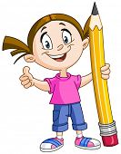 Young girl holding a big pencil and showing thumb up