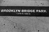 Brooklyn bridge Park sign painted on floor in New Your NYC USA