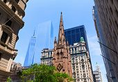 image of trinity  - Trinity Church and Freedom Tower Manhattan NYC New York USA - JPG