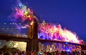 July 4th 2014 fireworks at Brooklyn bridge Manhattan skyline New York USA