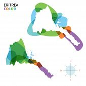 Abstract vector color map of Eritrea with transparent paint effect.