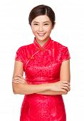 Asian woman with chinese new year