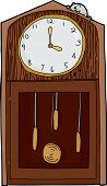 picture of nursery rhyme  - Isolated antique grandfather clock with mouse over white - JPG