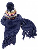 picture of tassels  - Blue winter bobble hat and matching scarf with tassels or fringe isolated against a white background - JPG