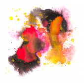 red yellow orange black spot blotch texture isolated on a white