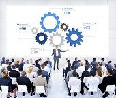 Business People Meeting Leader Speaker Biz Infographic Concept