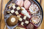 foto of desert christmas  - view from above of a tray of Christmas cookies in a variety of flavors - JPG
