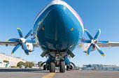 Turboprop airliner for small and medium lines. View from below. closely