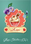 Holiday Card With Decorated Sweet Cupcake, Flovers, Vintage Frames And Calligraphic Text With Love,