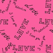 hand-drawn pattern  with word  love . Vector illustration