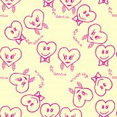 Seamless pattern. Hand-drawn hearts for valentines day. Vector illustration