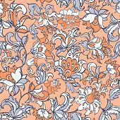 ethnic flowers seamless textile pattern