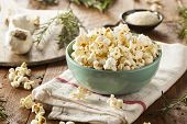 pic of popcorn  - Homemade Rosemary Herb and Cheese Popcorn in a Bowl - JPG