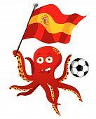 Octopus Soccer Player Holding Spain Flag.