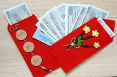 foto of  habits  - Habit custom of Vietnamese on Tet is lucky money a Vietnam traditional culture child wish somebody a happy new year receive red envelope with new small change Tet on spring also lunar new year - JPG