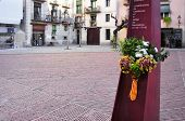 BARCELONA, SPAIN - JANUARY 10: El Fossar de les Moreres on January 10, 2015 in Barcelona, Spain. It is a memorial plaza with an eternal flame in memory to the fallen Catalans in the Siege of Barcelona