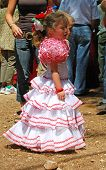 Spanish girl in flamenco dress.