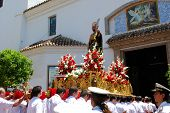 Carrying float into church, Marbella.