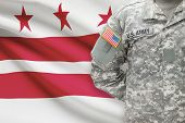 American Soldier With Us State Flag On Background - Washington, D.c. - District Of Columbia