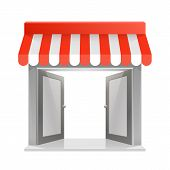 stock photo of awning  - Store striped awning 3d art - JPG