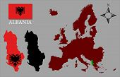Albania - Two contours, Map of Europe and flag vector