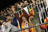 VALENCIA, SPAIN - JANUARY 25: Valencia team fans during Spanish League match between Valencia CF and Sevilla FC at Mestalla Stadium on January 25, 2015 in Valencia, Spain