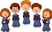 stock photo of gospel  - Vector illustration of Cartoon Children choir isolated on white background - JPG