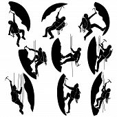 Set Silhouettes Of Alpinists (climbers).